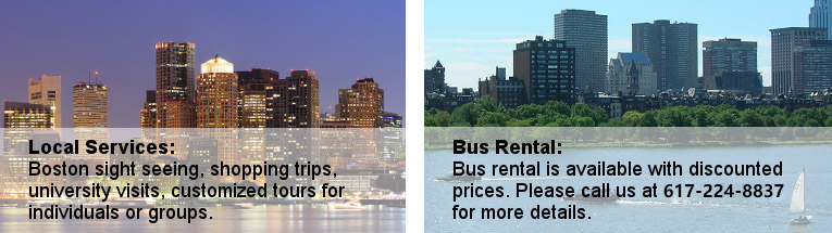 Boston local services, sightseeing, shopping, bus tours, university visits, bus rentals